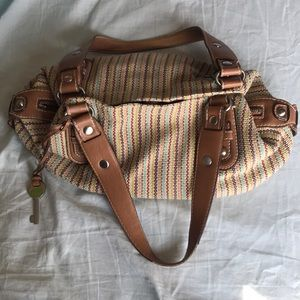 Fossil Multi-color Woven & Leather Handbag